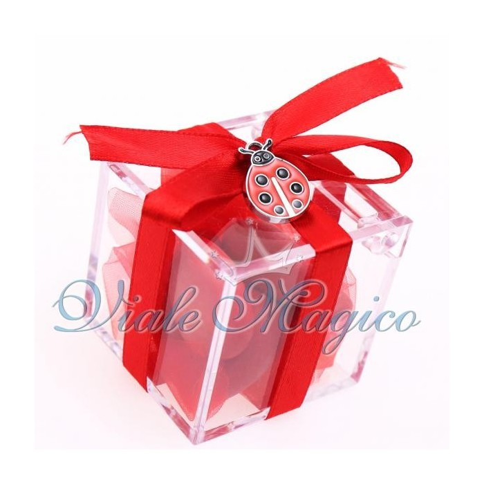 Bomboniere Compleanno Plexiglass Rosso con Ciondolo Coccinella