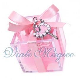 Bomboniere Prima Comunione Bimba Plexiglass Rosa con Ciondolo Ballerina