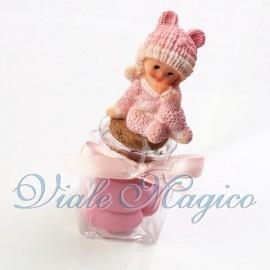 Vasetto in Vetro con Baby Rosa