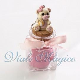 Vasetto in Vetro con Portachiave Orsetto Baby Rosa