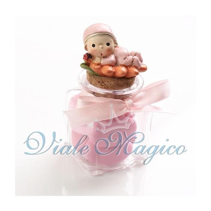 Bomboniera Nascita Battesimo Vasetto in Vetro Bimba Girasole Primo Compleanno