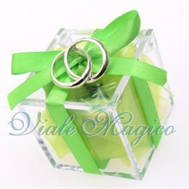 Plexiglass Verde con Fedi Argento Intrecciate