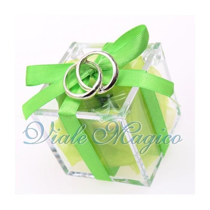 Bomboniera Plexiglass Verde con Fedi Argento Intrecciate Matrimonio Promessa