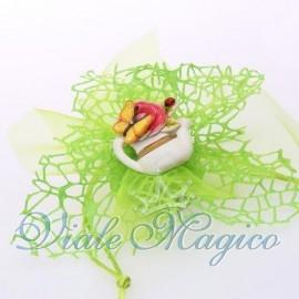 Doppio Velo a Rete con Magnete Vaso Fiore con Farfalla
