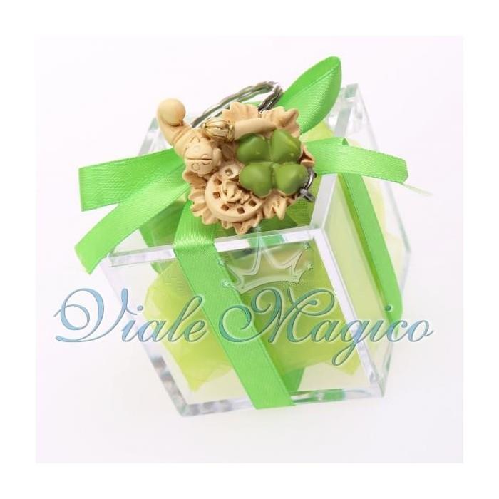Bomboniera Plexiglass Verde con Portachiave Cornucopia Portafortuna Matrimonio