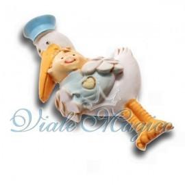 Cicogna Celeste con Bebè per Nascita