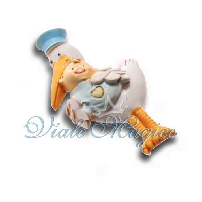 Bomboniere Faidate Nascita Battesimo Primo Compleanno Cicogna Celeste con Bebè