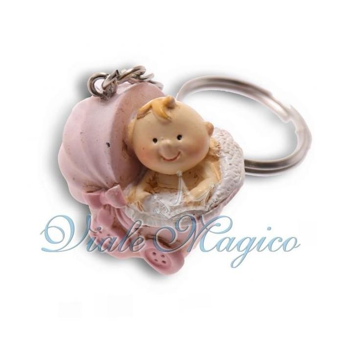 Bomboniere Nascita Battesimo Portachiave Carrozzina Rosa con Bebè Bimba Offerte