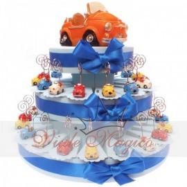 Bomboniere Compleanno Torta Da 35 Pezzi Con Memo-Clip Macchinine Cabrio colorate