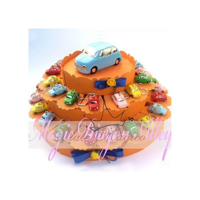 Bomboniere Compleanno Torta da 35 pezzi Porta Chiavi Macchinina 500 vari colori