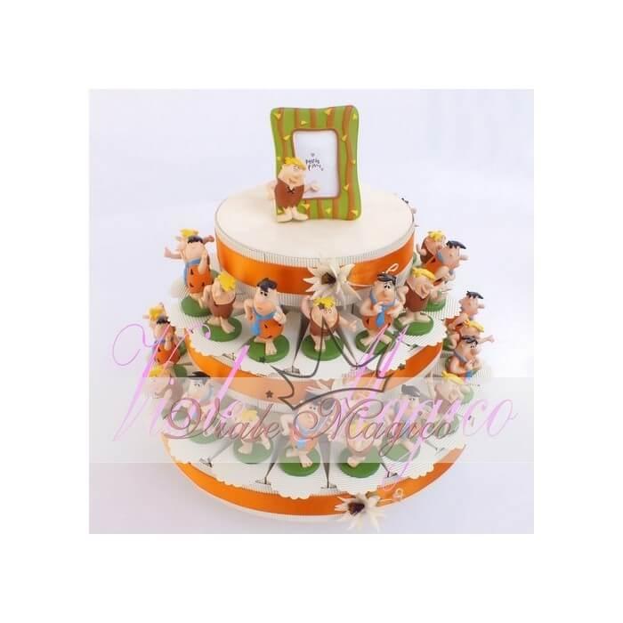 Bomboniere Compleanno Torta Tonda Alzatina da 35 pezzi con Statuina Flintstones