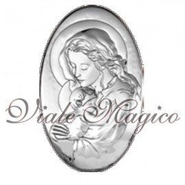 Icona Ovale Madonna con Bimbo in Argento Beltrami