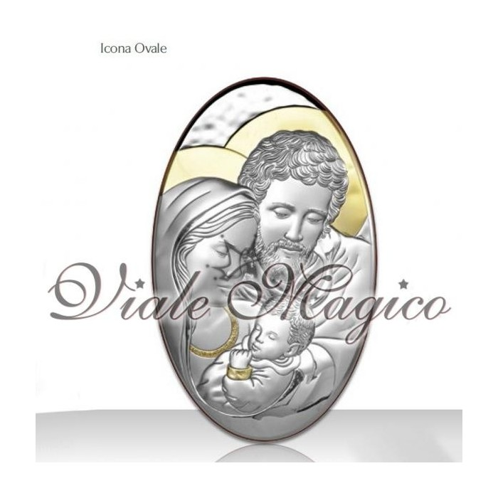 Icona Ovale Verticale Sacra Famiglia in Argento e Oro