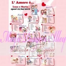 TAB1412 Tableau L'Amore è....50 x 70 cm con Segnatavoli