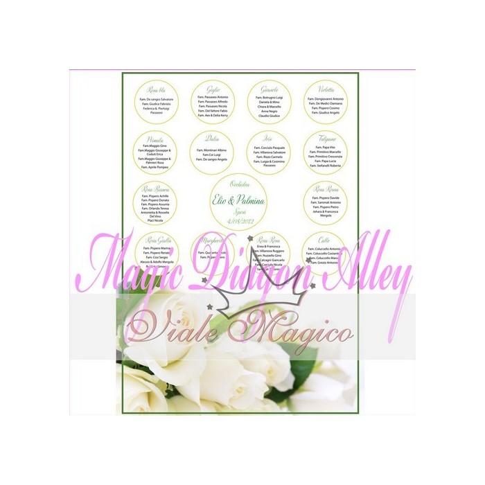 Bomboniera TAB1420 Tableau Rose Bianche 50 x 70 cm con Segnatavoli Nozze Sposi
