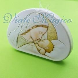 Quadro Colorato Immagine Madonna con Bambino in Legno