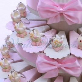 Torta Bomboniere Portachiavi Carrozzina Flower Rosa
