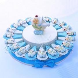 Torta Bomboniere Magnete Carrozzina Flower Celeste