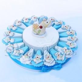 Torta Bomboniere Magnete Pony Flower Celeste