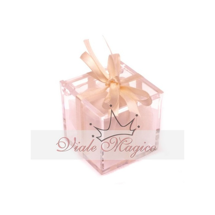 Bomboniera Matrimonio Compleanno Plexiglass con Nastrino Bianco