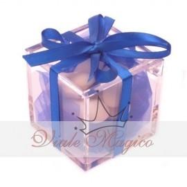 Bomboniera Plexiglass con Nastrino Blu Matrimonio Compleanno