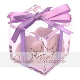 Bomboniera Plexiglass con Nastrino Lilla Compleanno Matrimonio