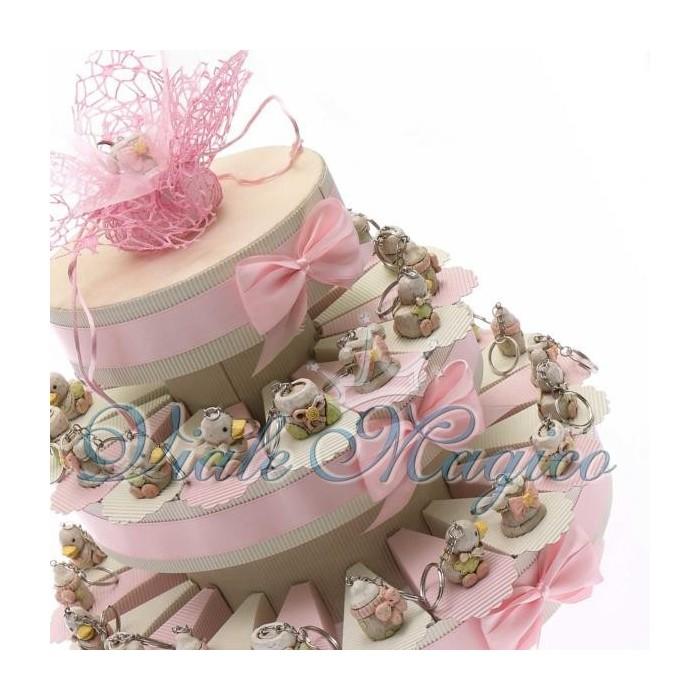 Torta Portaconfetti con Portachiavi Baby Rosa