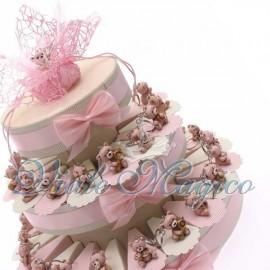 Torta Portaconfetti con Portachiavi Orsetti Rosa