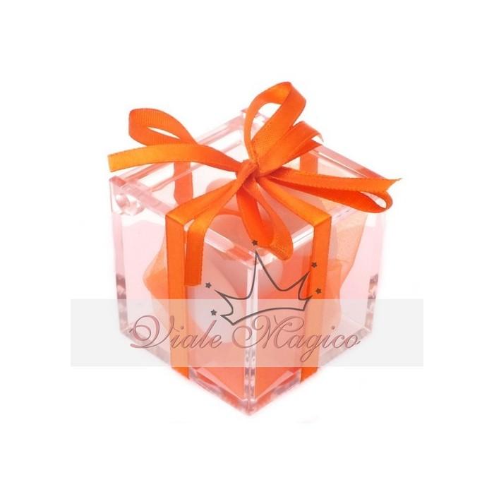 Bomboniere Compleanno Prima Compleanno Plexiglass completo Nastro Arancione