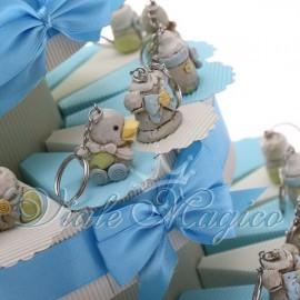 Torta Portaconfetti con Portachiavi Baby Celeste