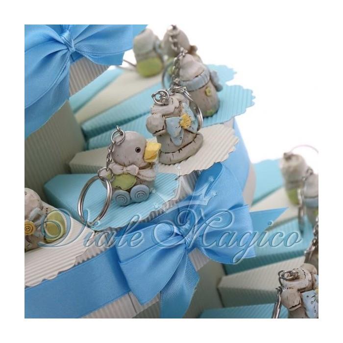 Bomboniere Nascita Battesimo Torta Portaconfetti con Portachiavi Baby Bimbo