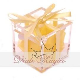 Bomboniere Compleanno Comunione Battesimo Plexiglass Confetti Nastro Giallo