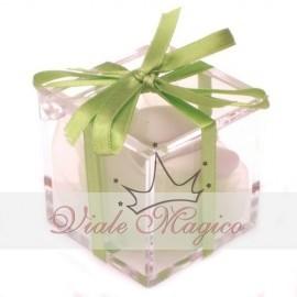 Bomboniere Scatolina Promessa Matrimonio Plexiglass completo Nastro Verde