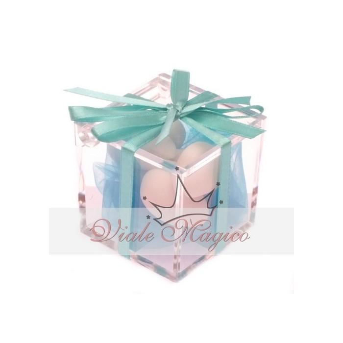 Bomboniera Plexiglass completo Nastro Tiffany Matrimonio Promessa Compleanno