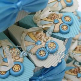 Torta Portaconfetti con Appendino Carrozzina Celeste