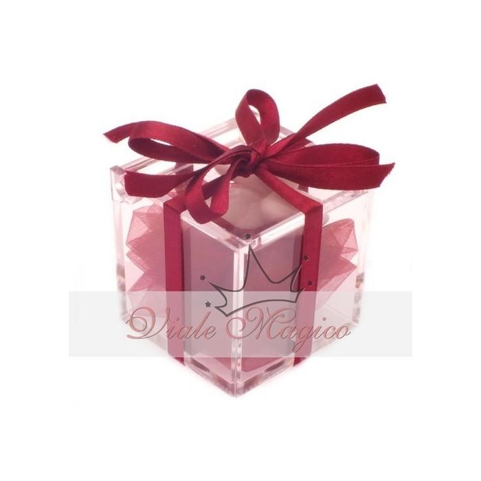 Bomboniera Plexiglass completo Nastro Bordeaux Matrimonio Compleanno