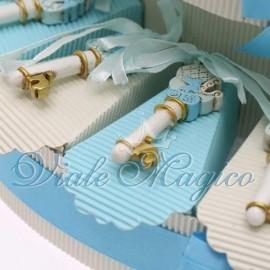 Torta Portaconfetti con Chiave Bebè Celeste