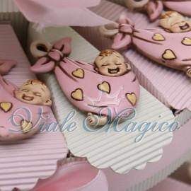 Torta Portaconfetti Magnete Fagotto con Bebè Rosa