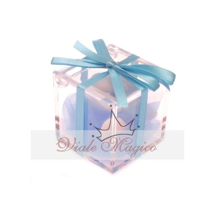 Bomboniera Nascita Battesimo Primo Compleanno Plexiglass completo Nastro Bimbo