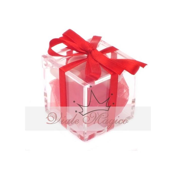 Bomboniere Compleanno Laurea Plexiglass completo Nastro Rosso Offerte