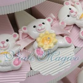 Torta Portaconfetti con Magnete Orsetto Rosa