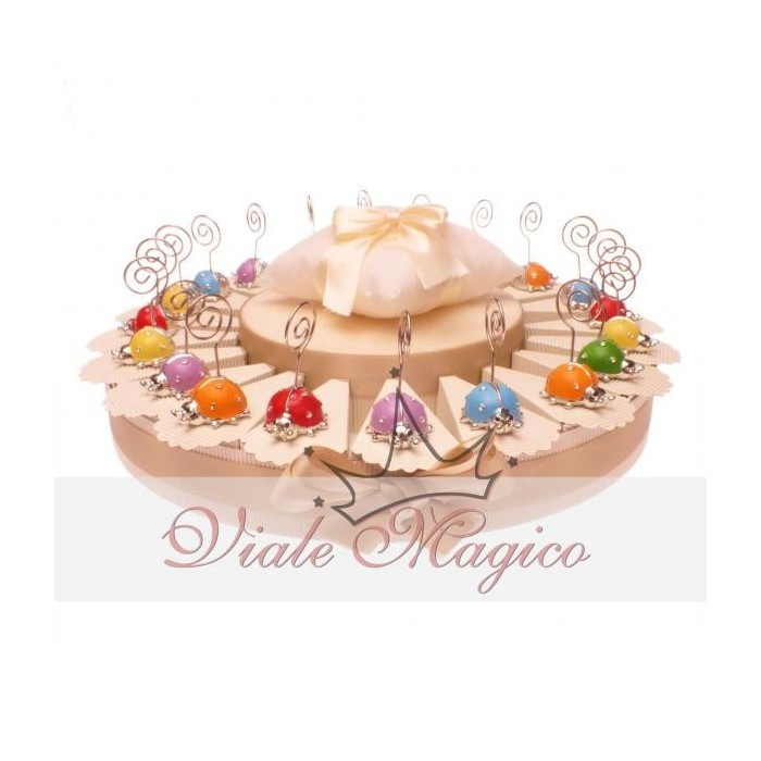 Bomboniere Compleanno in Offerta Torta 20 Coccinelle Memoclip Confettata