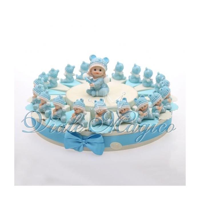 Bomboniere Nascita Battesimo Torta Portaconfetti con Baby Tutina Bimbo