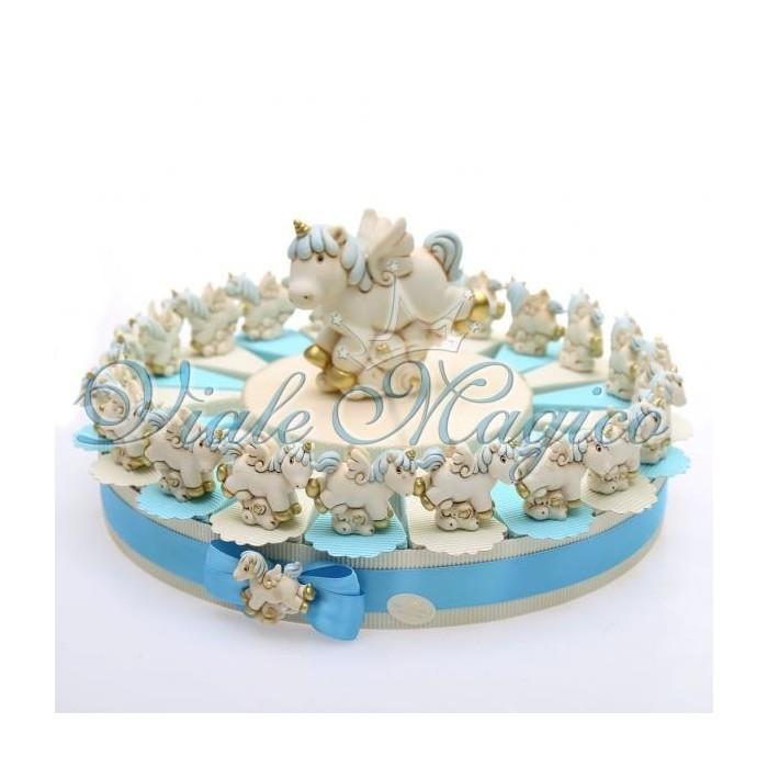 Bomboniere Nascita Battesimo Torta Portaconfetti con Unicorno Bimbo