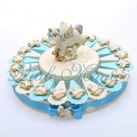 Bomboniere Nascita Battesimo Torta Portaconfetti con Magnete Unicorno Bimbo