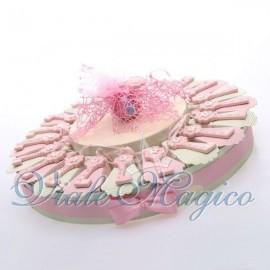 Torta Portaconfetti con Chiave Rosa Nascita