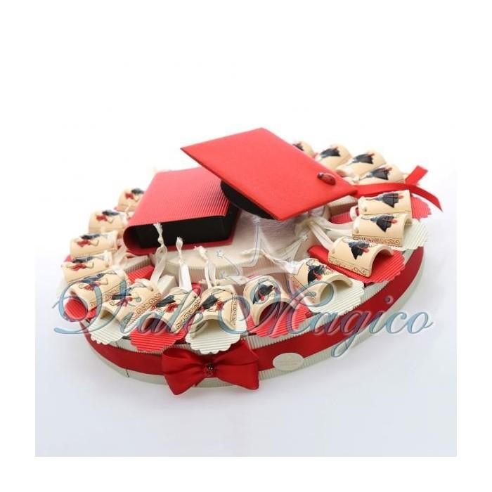 Bomboniere Torta Portaconfetti con Appendino Tegola per Laurea Confettata