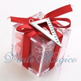 Bomboniere Laurea Plexiglass Rosso con Squadretta Offerte Confettata