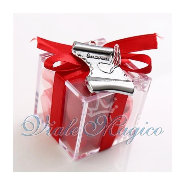 Bomboniere Laurea Plexiglass Rosso con Pergamena Confettata Offerte