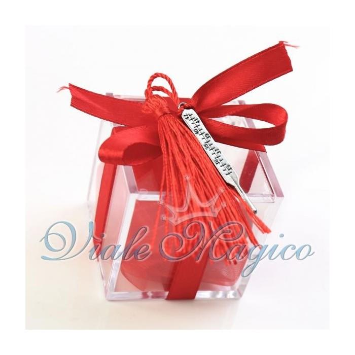Offerte Bomboniere Laurea Plexiglass Rosso con Termometro Ciondoli Portachiavi